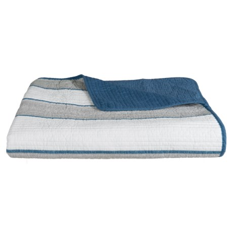 Max Studio Textured Cabana Stripe Quilt - Full-Queen in Blue Grey