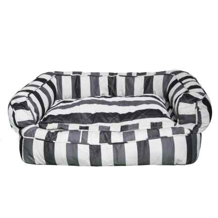 """Max Studio Thick Stripe X-Large Bolster Dog Bed - 36x27"""" in Black/Grey - Closeouts"""