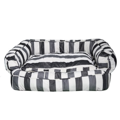 "Max Studio Thick Stripe X-Large Bolster Dog Bed - 36x27"" in Black/Grey"