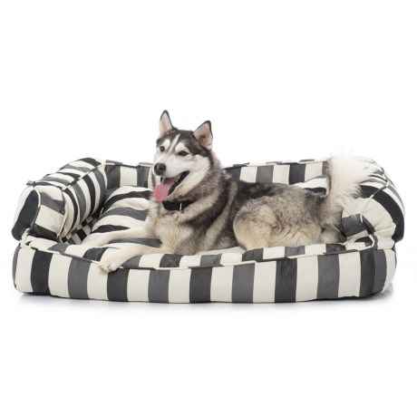 """Max Studio Thick Stripe XX-Large Bolster Bed - 29x43"""" in Black"""