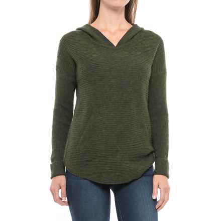 Max Studio Wool-Yak Hooded Tunic Shirt - Long Sleeve (For Women) in Dark Olive Heather - Closeouts