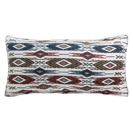 """Max Studio Woven Chevron Checker Decor Pillow - 17x35"""" in Orange"""
