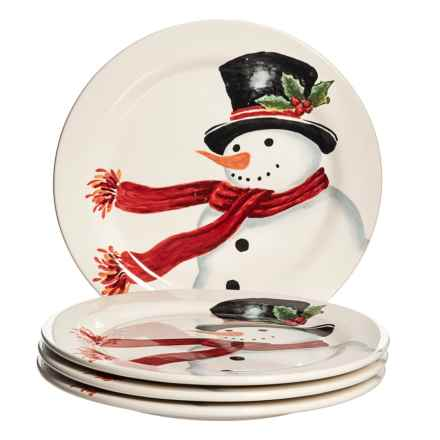 """Maxcera Snowman Appetizer Plates - 4-Pack, 9"""" in White - Closeouts"""