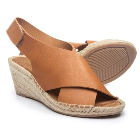 Maypol Made in Spain Dynamic X-Band Wedge Leather Sandals - Touch-Fasten Back (For Women) in Cognac