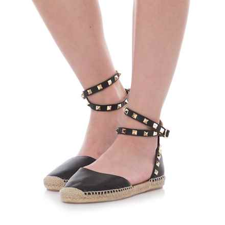 Maypol Made in Spain Tachas B Studded Sandals - Leather (For Women) in Black - Closeouts