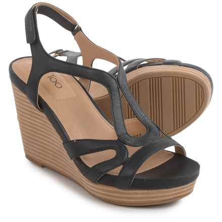 Me Too Alanna Platform Wedge Sandals - Leather (For Women) in Black - Closeouts