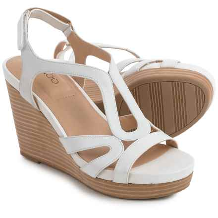 Me Too Alanna Platform Wedge Sandals - Leather (For Women) in White - Closeouts