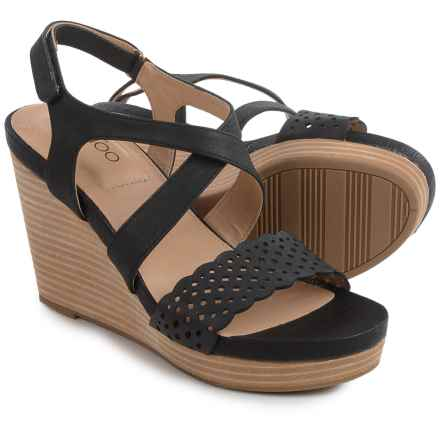 Me Too Alexa Platform Wedge Sandals - Leather (For Women) in Black - Closeouts