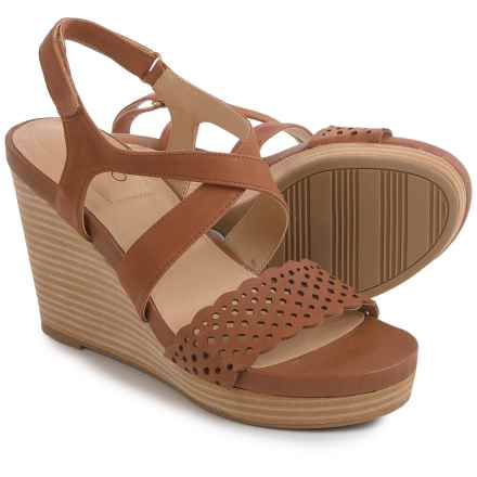 Me Too Alexa Platform Wedge Sandals - Leather (For Women) in Cuoio - Closeouts