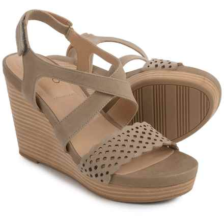 Me Too Alexa Platform Wedge Sandals - Leather (For Women) in Stone - Closeouts