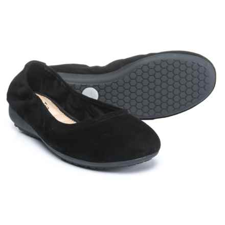 Me Too Janell Ballet Flats - Leather, Slip-Ons (For Women) in Black Suede - Closeouts