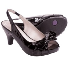 Me Too Panther Pumps - Leather, Sling-Back (For Women) in Black Patent - Closeouts