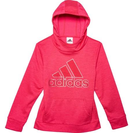 Med Pink Core Embossed Hoodie (For Big Girls) - MED PINK (XL )