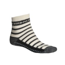 Medima Comfort Slipper Socks - Midweight, Wool-Angora (For Men and Women) in Grey Stripe - Closeouts