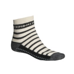 Medima Comfort Slipper Socks - Midweight, Wool-Angora (For Men and Women) in Grey Stripe