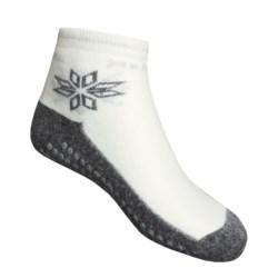 Medima Comfort Slipper Socks - Midweight, Wool-Angora (For Men and Women) in White/Grey
