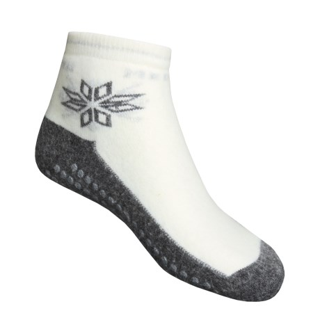 Medima Comfort Slipper Socks - Midweight, Wool-Angora (For Men and Women) in White/Grey