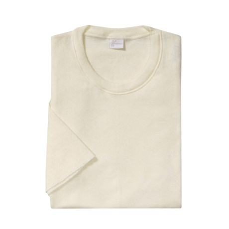 Medima Merino Wool-Angora Shirt - Extra Long, Lightweight, Short Sleeve (For Men) in White