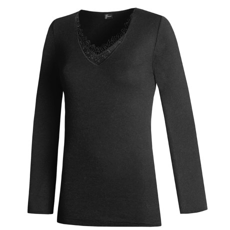 Medima V-Neck Shirt - Merino Wool-Angora, Long Sleeve (For Women) in Black