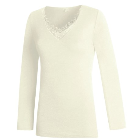 Medima V-Neck Shirt - Merino Wool-Angora, Long Sleeve (For Women) in White