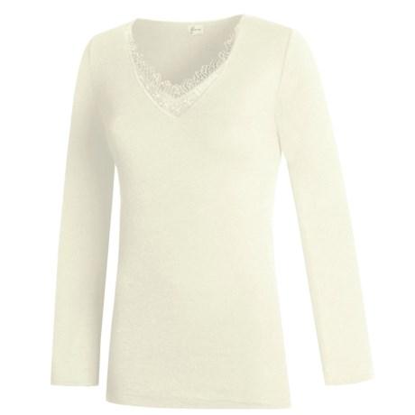 Medima V-Neck Top - Merino Wool-Angora, Long Sleeve (For Women) in Black