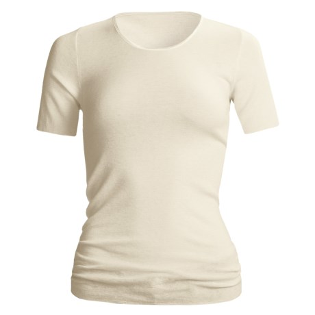 Medima Wool-Angora Top - Lightweight, Short Sleeve (For Women) in White
