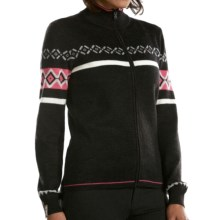 Meister Claire Sweater - Wool Blend, Full Zip (For Women) in Charcoal Heather/Rose/Pearl Grey - Closeouts