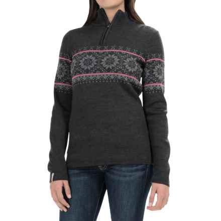 Meister Cortina Sweater - Wool Blend, Zip Neck (For Women) in Charcoal/Heather Grey/Rose - Closeouts