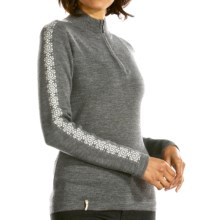 Meister Dani Sweater - Wool Blend, Zip Neck (For Women) in Heather Grey/Winter White - Closeouts