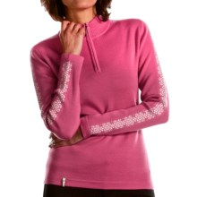 Meister Dani Sweater - Wool Blend, Zip Neck (For Women) in Rose/Winter White - Closeouts