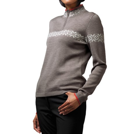 Meister Erin Sweater - Wool Blend, Zip Mock Neck (For Women) in Taupe/White/Lava