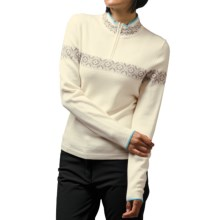Meister Erin Sweater - Wool Blend, Zip Mock Neck (For Women) in Winter White/Lagoon - Closeouts