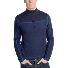 Meister Explorer Sweater - Wool, Zip Neck (For Men) in Navy Heather/Royalty - Closeouts