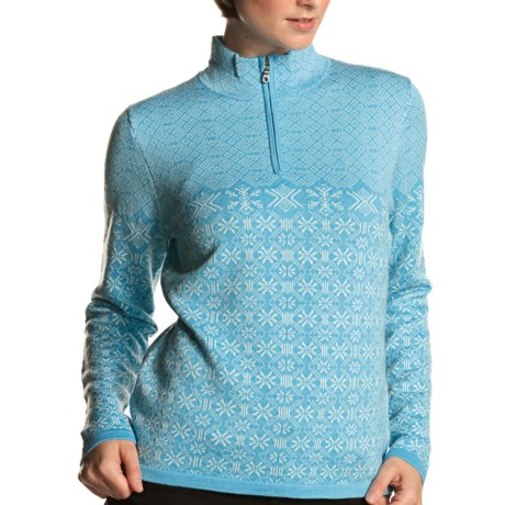 Meister Grace Sweater - Wool, Zip Neck (For Women) in Lagoon