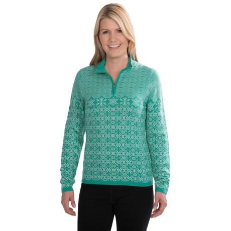 Meister Grace Sweater - Wool, Zip Neck (For Women) in Mint/White