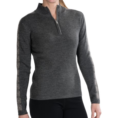 Meister Hilary Sweater - Zip Neck (For Women) in Charcoal Heather/Taupe