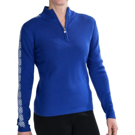 Meister Hilary Sweater - Zip Neck (For Women) in Cobalt/White