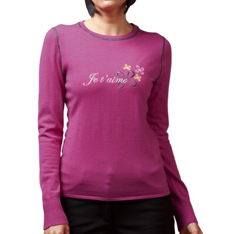 Meister Je T'aime Sweater - Merino Wool (For Women) in Raspberry/Charcoal