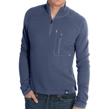 Meister Jeremy Sweater - Merino Wool, Zip Neck (For Men) in Charcoal Heather