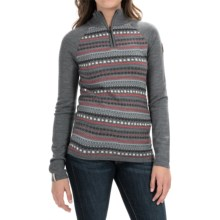 Meister Jordana Sweater - Zip Neck (For Women) in Heather Grey/Persimmon - Closeouts