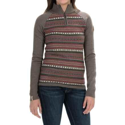 Meister Jordana Sweater - Zip Neck (For Women) in Twig/Heather/Siren - Closeouts