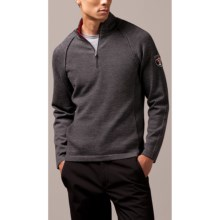 Meister JP Cable Detail Sweater - Zip Neck, Wool Rich (For Men) in Charcoal/Chili - Closeouts