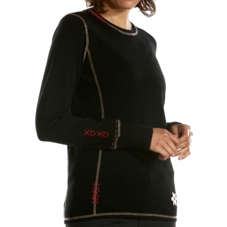 Meister Kiss Me Sweater - Stretch Merino Wool (For Women) in Black/Twig