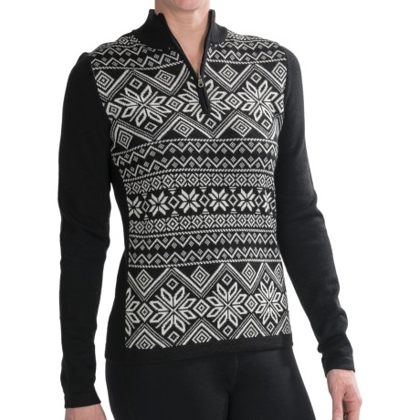 Meister Lara Sweater - Wool Blend, Zip Neck (For Women) in Black/White