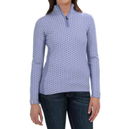 Meister Liana Sweater - Wool Blend, Zip Neck (For Women) in Cornflower/Winter White - Closeouts