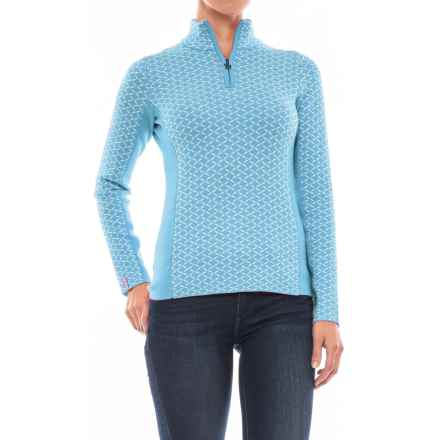 Meister Liana Sweater - Zip Neck (For Women) in Robin/Winter White - Closeouts