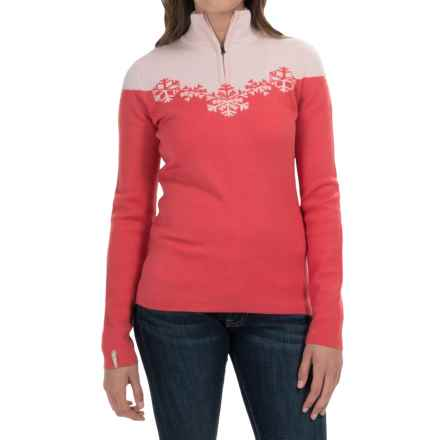 Meister Maya Sweater - Wool Blend, Zip Neck (For Women) in Persimmon/White - Closeouts