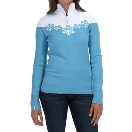 Meister Maya Sweater - Wool Blend, Zip Neck (For Women) in Robin/Winter White - Closeouts