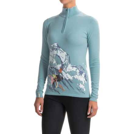 Meister Montage Alpine Ski Print Sweater - Zip Neck (For Women) in Glacier - Closeouts