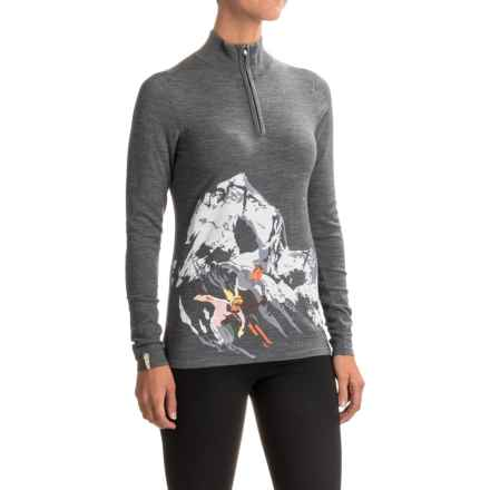 Meister Montage Alpine Ski Print Sweater - Zip Neck (For Women) in Heather Gray - Closeouts